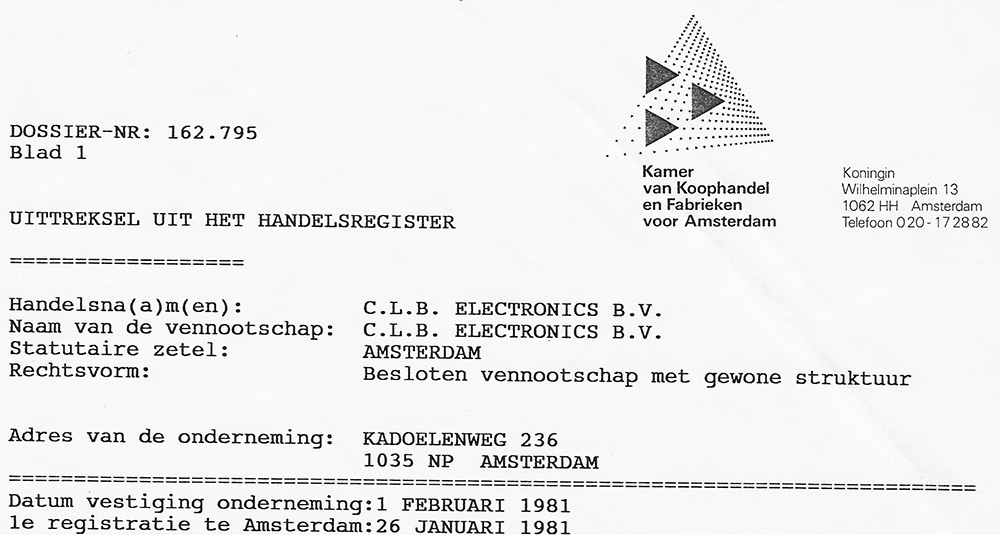 """<span class=""""timelineyear"""">1981</span><h4 class=""""timelinetitle"""">CLB founded by Cornelis Louis Berghuijs</h4>"""
